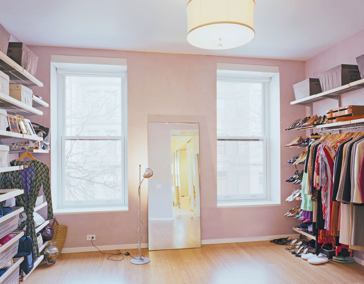 Martin's closet (which some would consider to be a perfectly habitable room—or apartment!) offers room for a growing wardrobe.