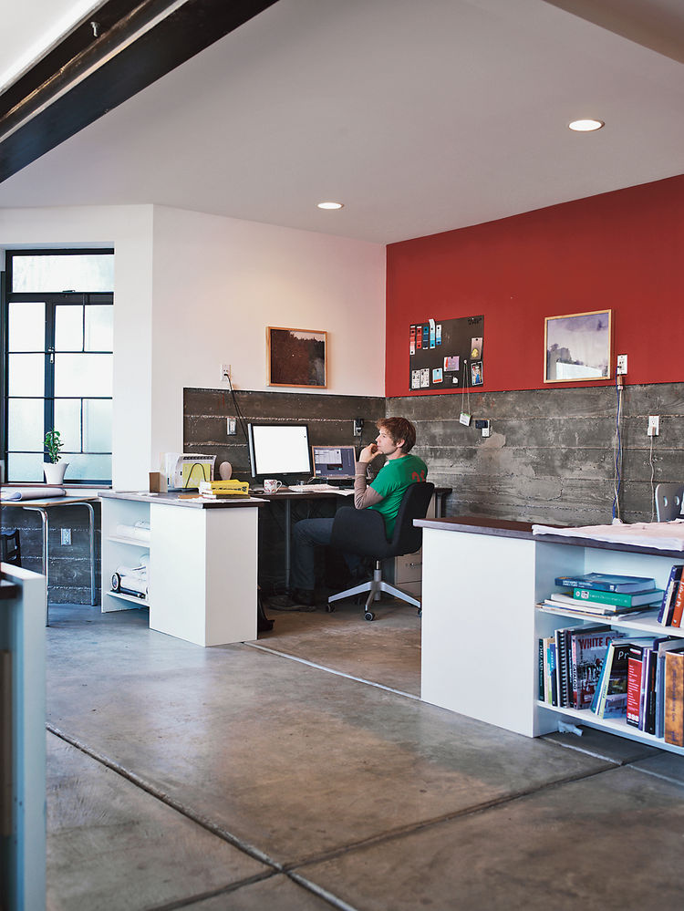 red wall concrete floor ground level office restored Victorian