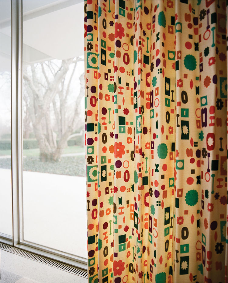 Almost every window in the house was covered in a Girard-designed fabric.