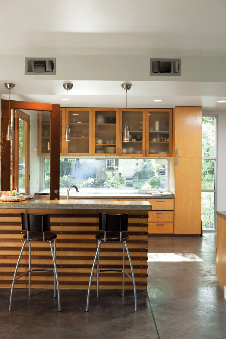 The street is highly visible from the kitchen, a large space where two cooks can easily work around one another.