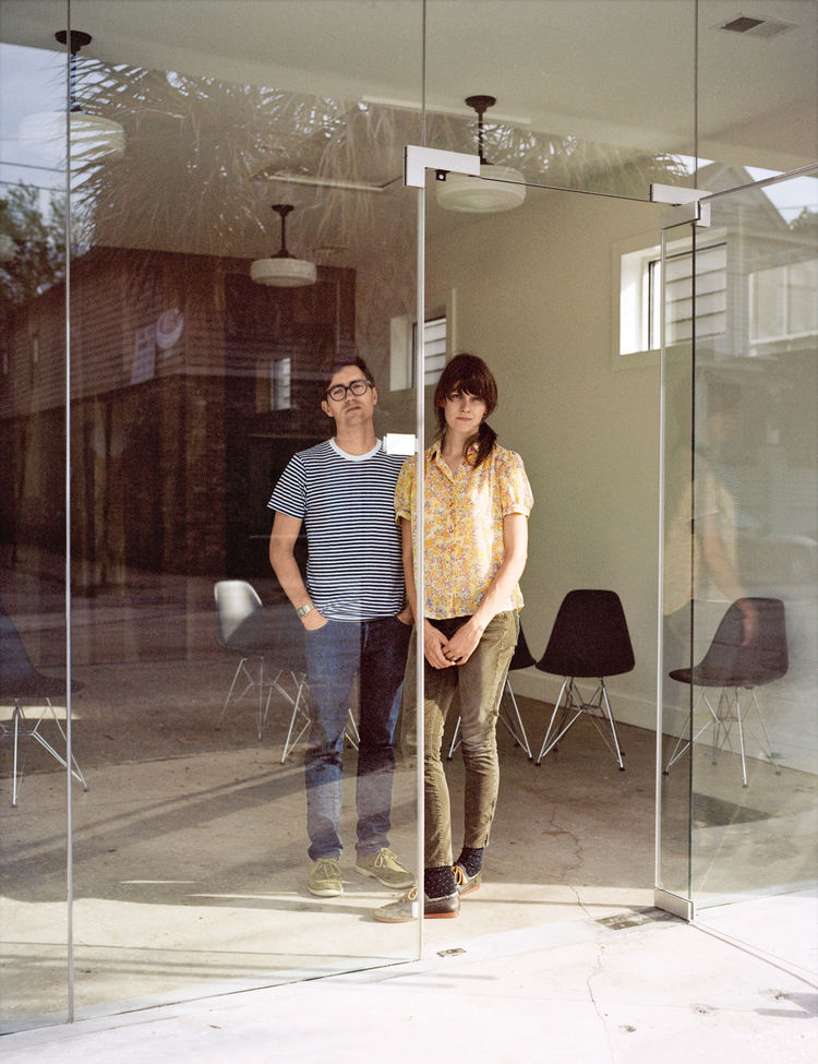 Josh Nissenboim and Helen Rice inside Fuzzco, the couple's design firm.