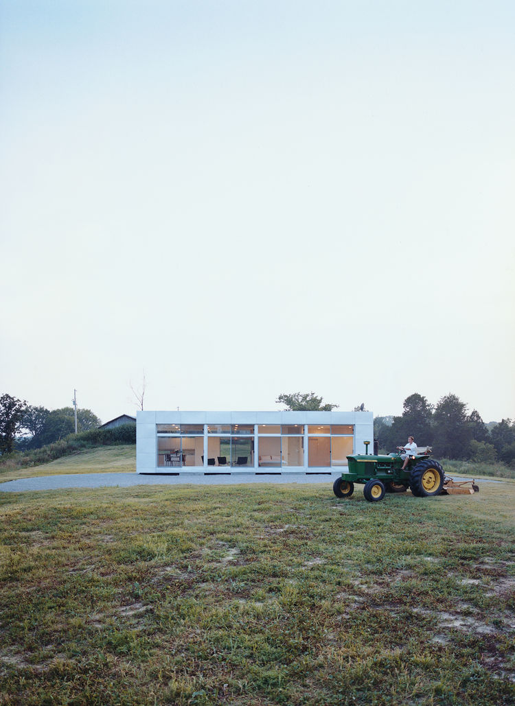 The Perryville, Missouri, show house for Rocio Romero's LV prefab series is also home to the designer and her husband, Cale Bradford. The house subtly reflects the area's utilitarian rural vernacular.