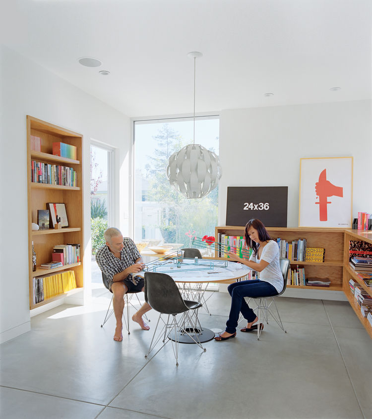 "The dining room is meant to be a flexible space for eating or dancing. ""One of the most important things for me,"" explains Grunbaum, ""is how a house feels. It has to be a place where you don't want to leave."" The Cyclone table is by Isamu Noguchi for Knol"