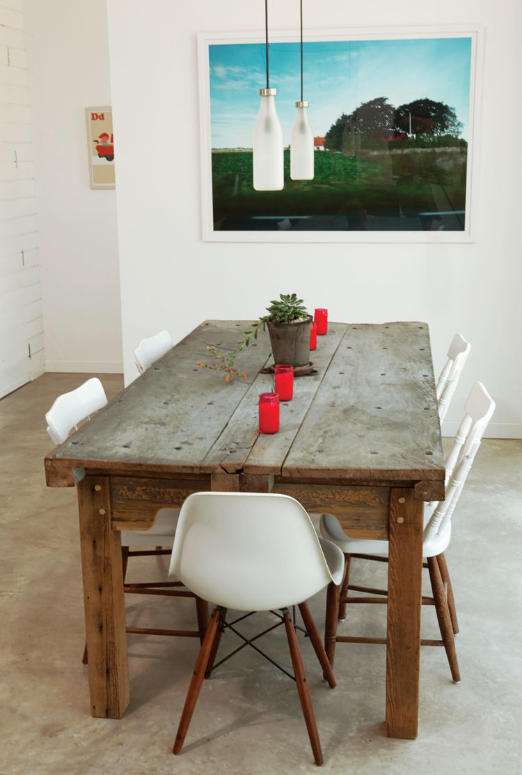 The dining table in the Suttles and Shah residence made from two old Mexican doors.