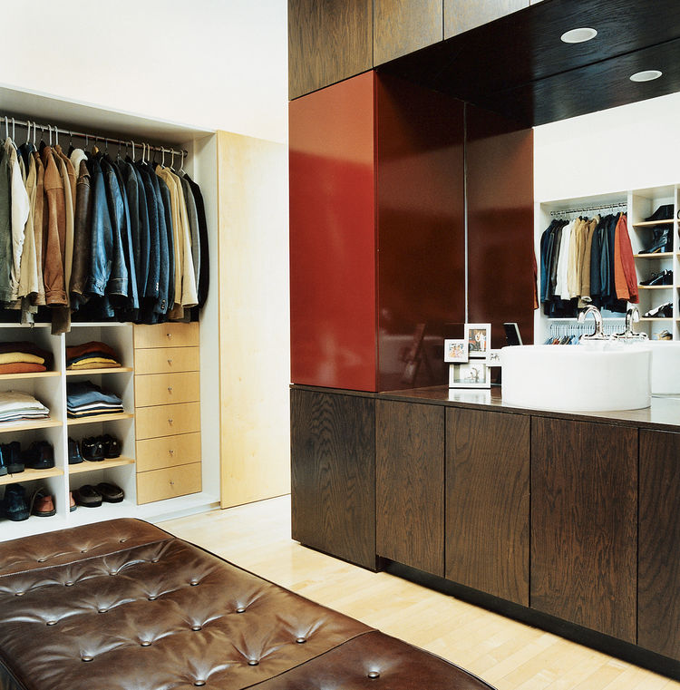 The closet creates order in a space that has potential for disaster.