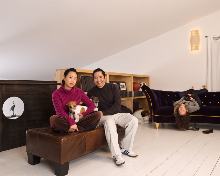 "Patrick, Cherry and Jasmine with Sage, Solo and Coco in the upstairs loft. ""This house is very modern and minimal, and though there is an abundance of beautiful architectural detailing, it's not at all flashy—it's very low-key,"" says Wong."