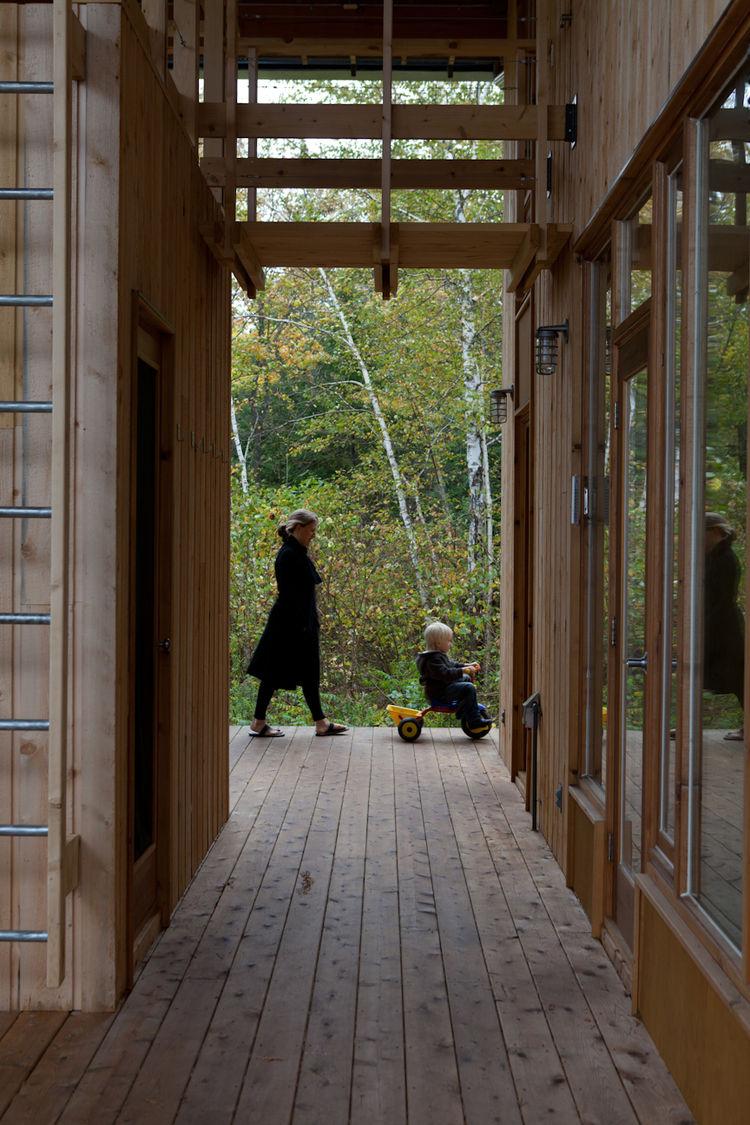 Outdoor wooden hallway multiple units