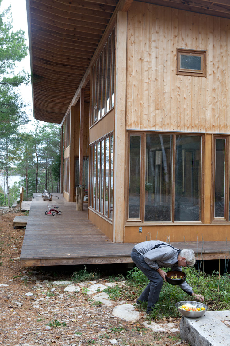 Outdoor wooden house structure and porch