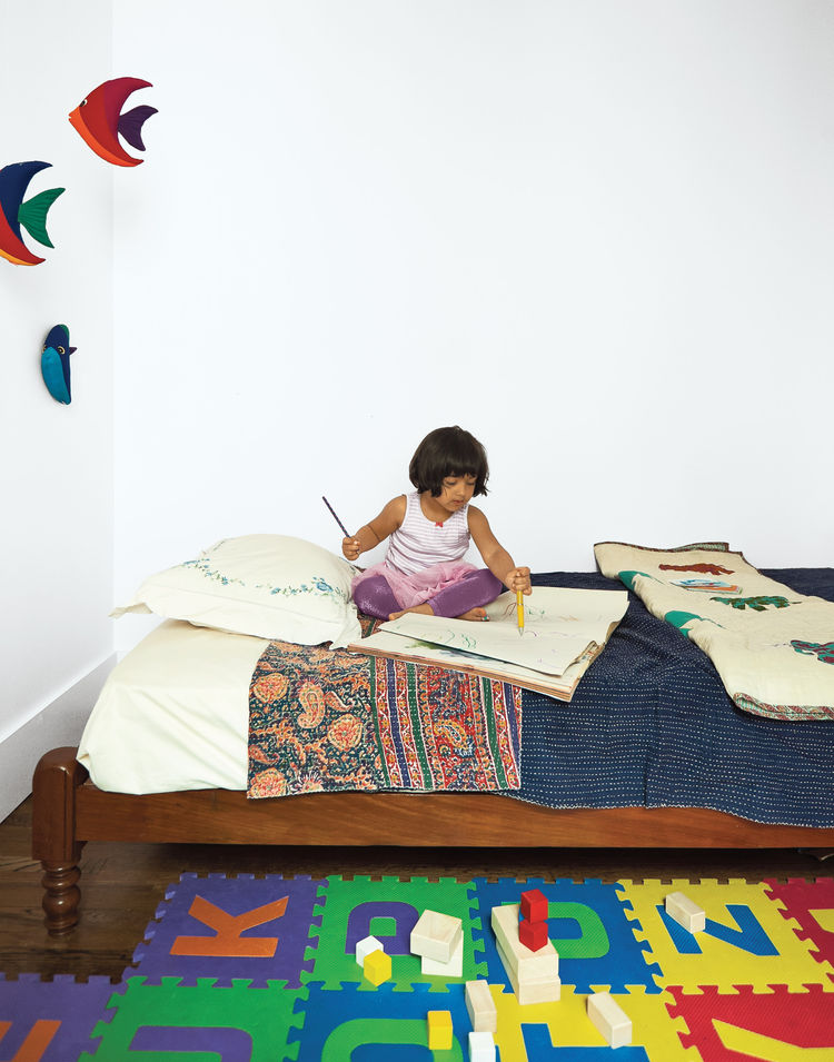 Children's room with traditional Indian twin bed