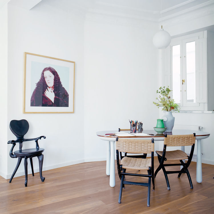 Creative workspace with wooden floors