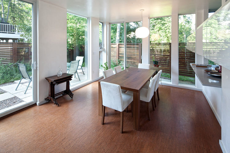 Dining room with open windows