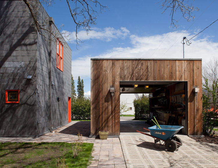 Outdoor natural wood square garage shed