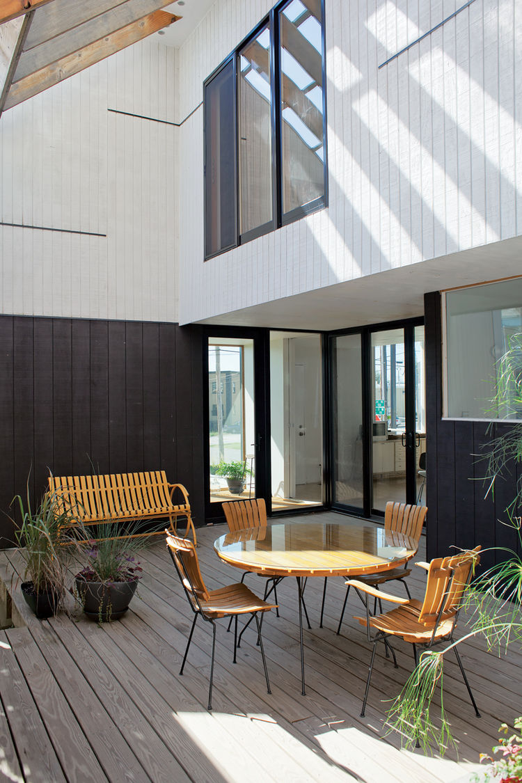 Simple deck with antique wooden furniture