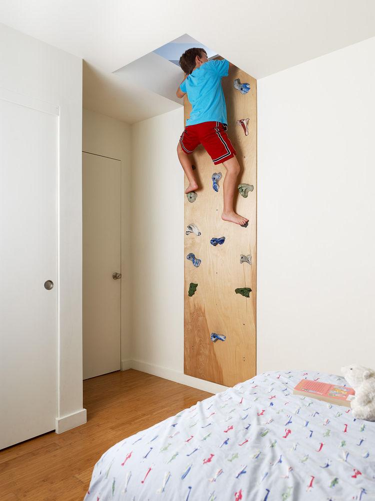 Rock climbing wall in children's bedroom