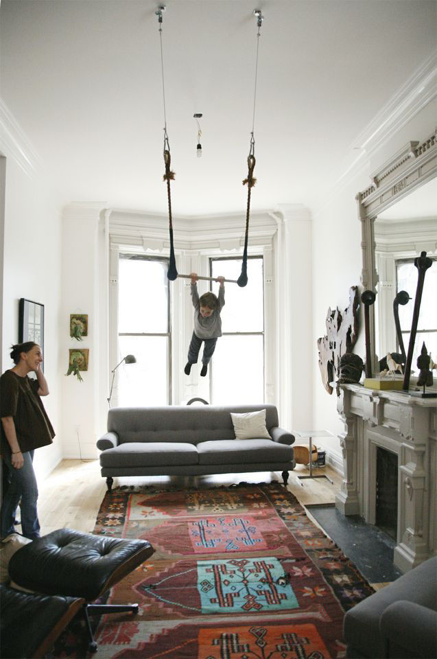 Trapeze swing in the living room.