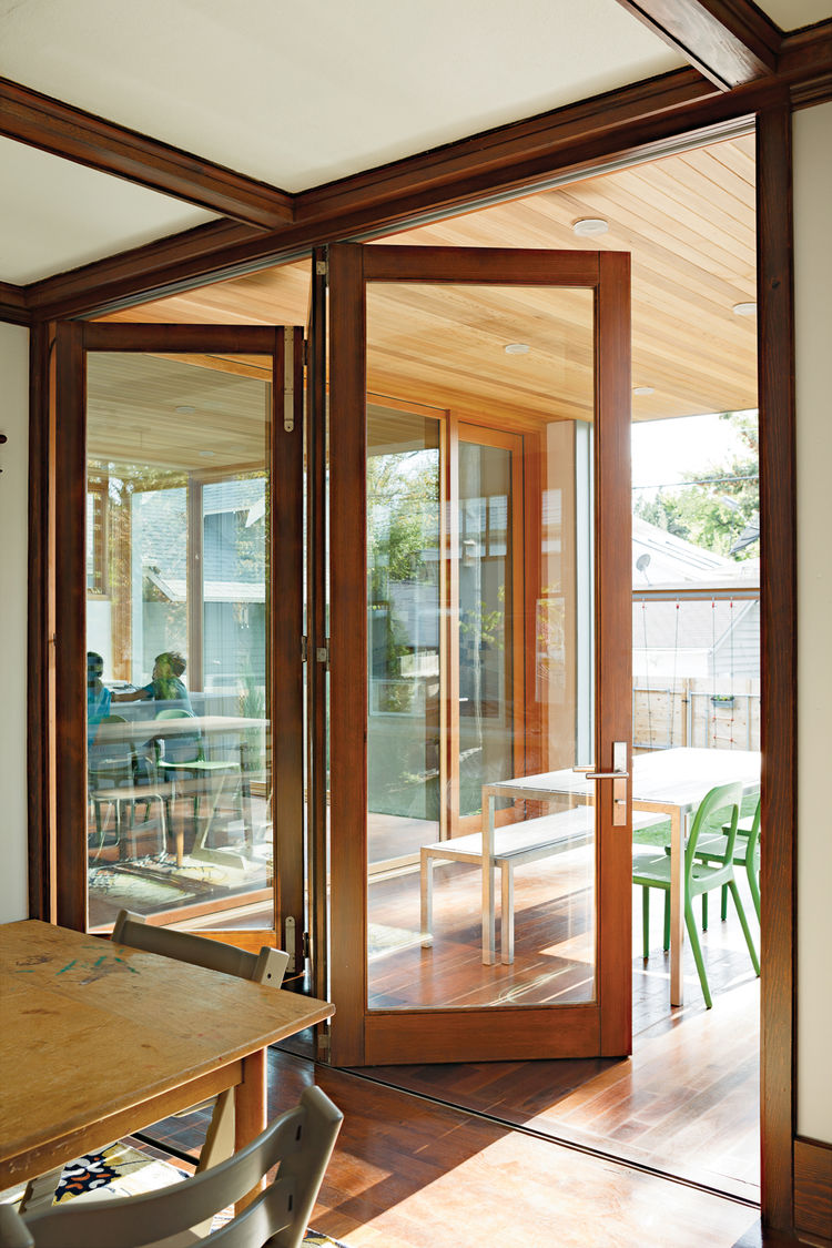 Modern home interior with bifold accordion doors