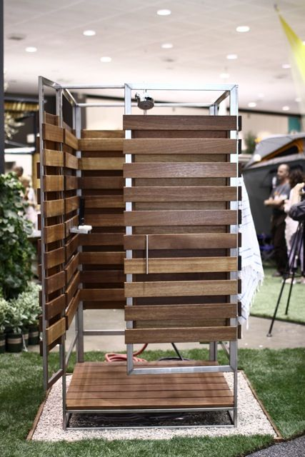 Wooden outdoor shower at Dwell on Design 2012