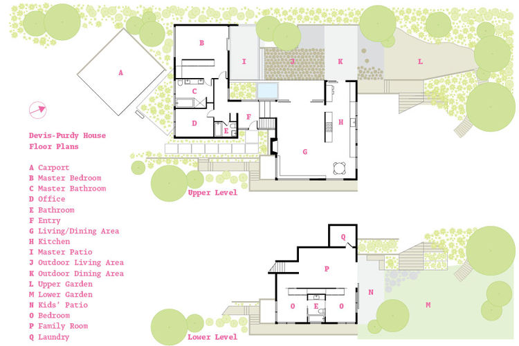Devis-Purdy House in Los Angeles, California floor plans