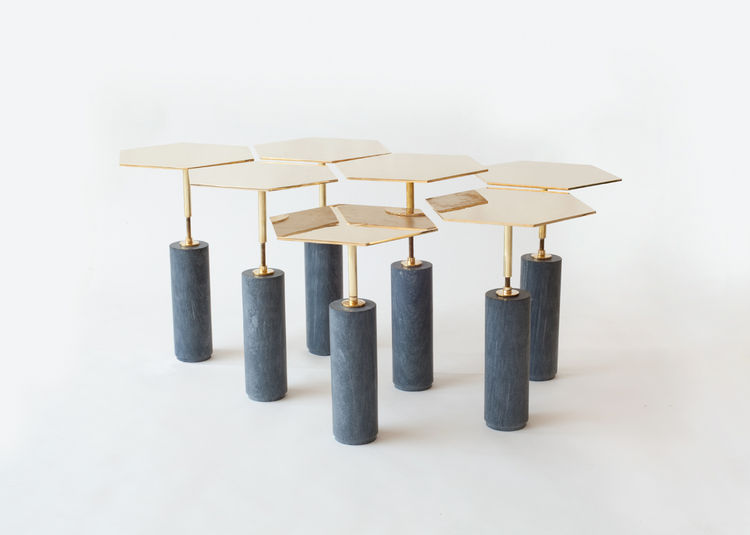 Brass Hawley table by Brooklyn design studio Egg Collective