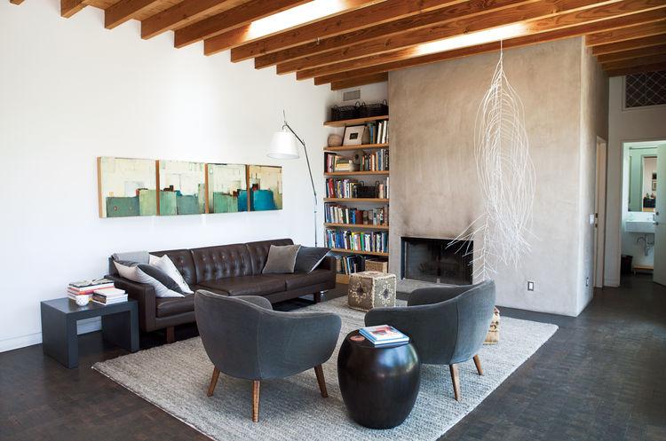 interior of modernized living room, Los Angeles
