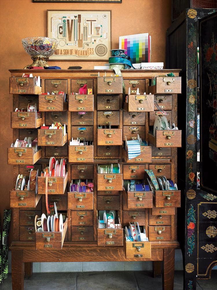 Cabinets of ribbons at Greer