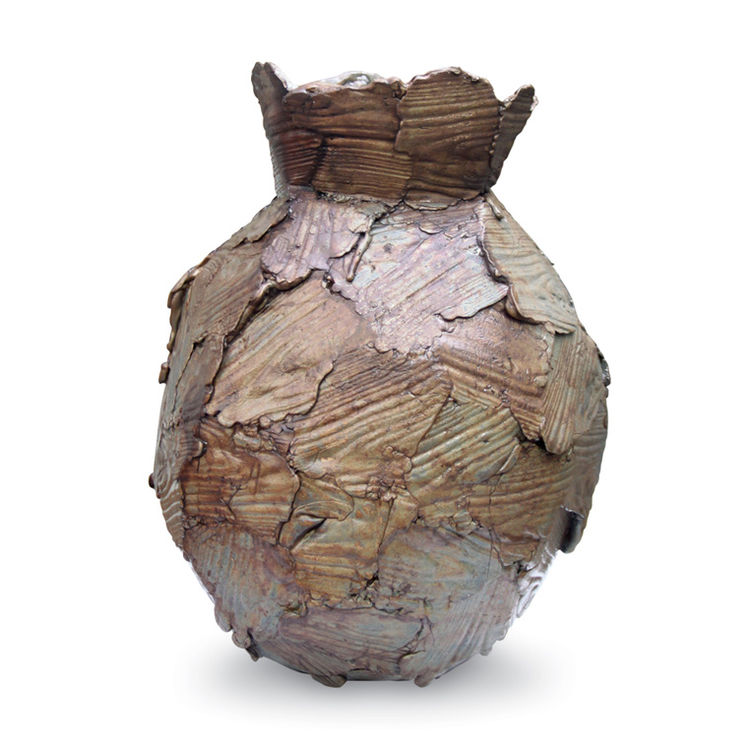Plaster and metal vase by Peter Marigold