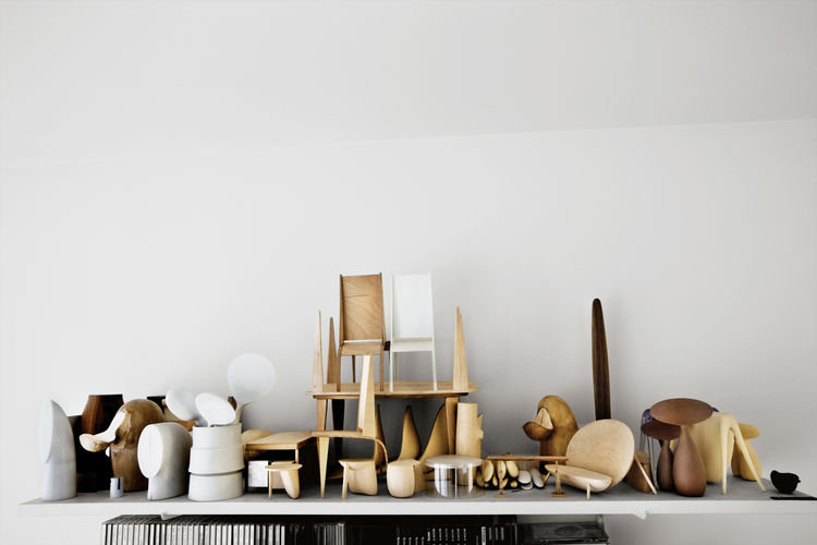 minimalist wooden and plaster maquettes