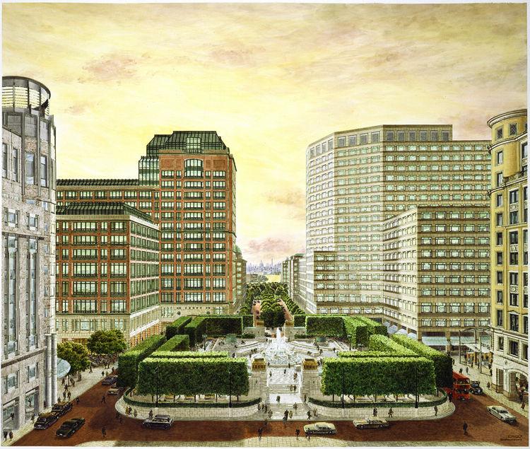 Canary Wharf development rendering by Carlos Diniz