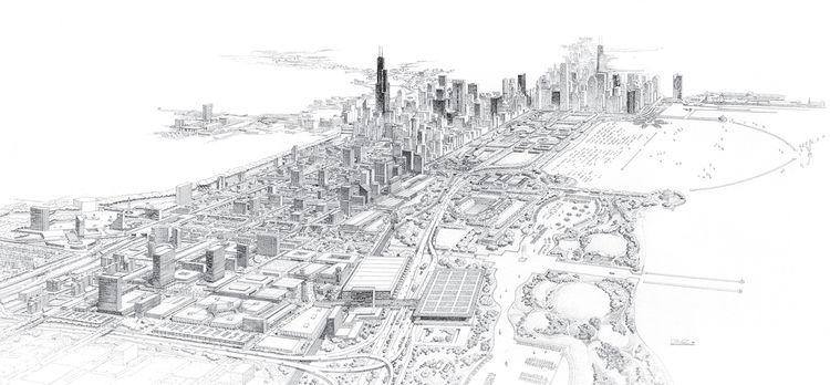 1983 Chicago Masterplan rendering by Carlos Diniz