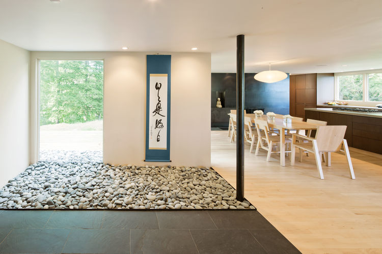 Minimalist interior zen stone garden