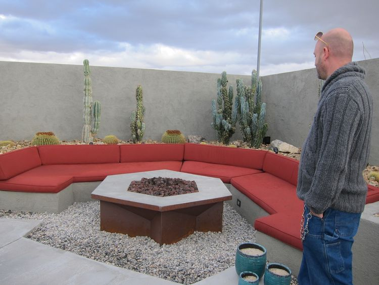 Outdoor firepit with built-in benches