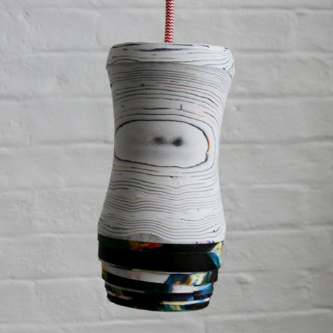 Processed Paper Pendant Light by Pia Wüstenberg