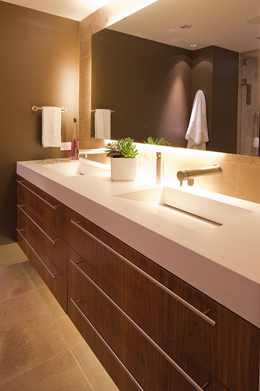 """Complex and Angular Double Vanity Top in """"Pure White"""" designed by Fritz Jünker Design + Remodeling"""