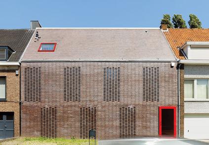 brick facade House BVA in Belgium by DMVA Architects
