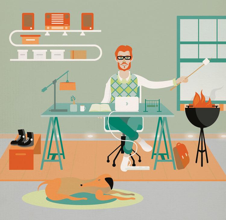 Modern home office illustration by Arunas Kacinskas