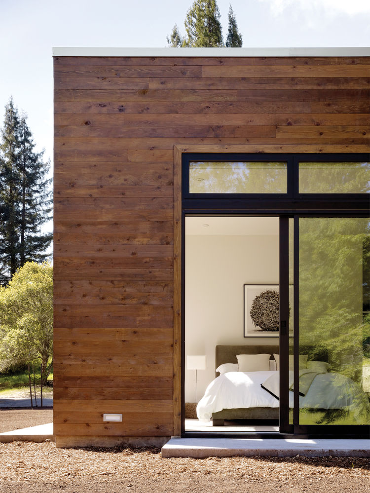 Outdoor view of master bedroom with sliding glass doors
