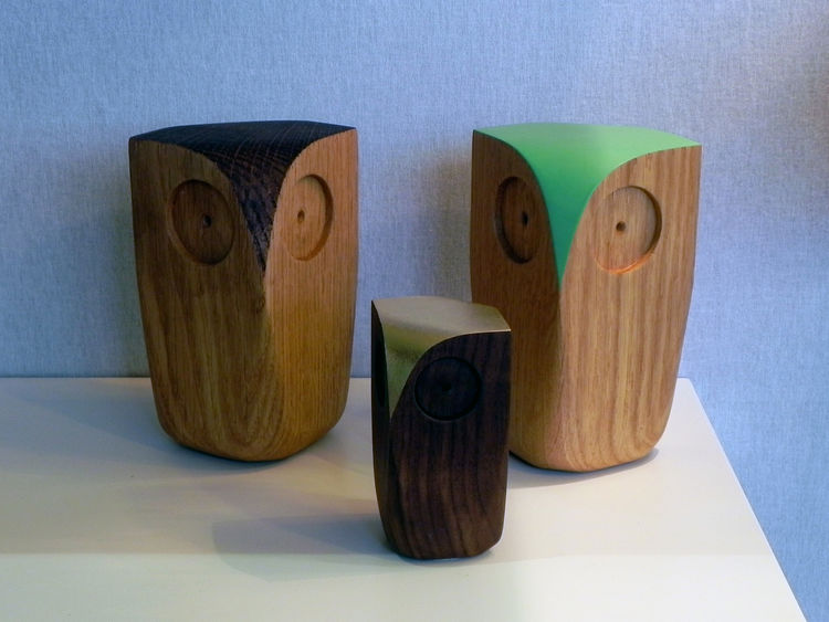 Decorative wooden Owls by Matt Pugh