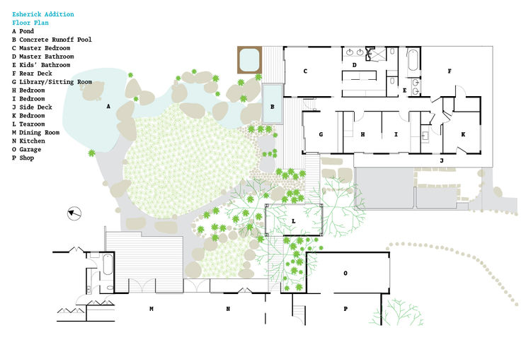 Floor plan of the Esherick Addition in Berkeley, California