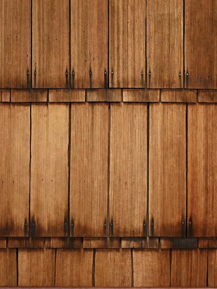 Detail of tall wooden shingles
