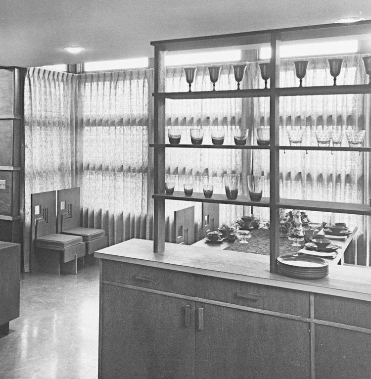 Vintage kitchen with wine glass storage