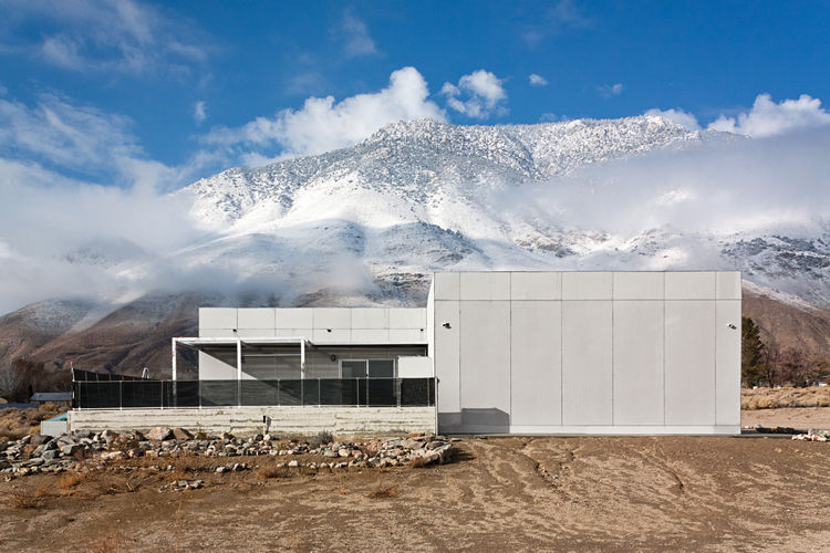 Modern prefab house in the Sierra Nevada mountains