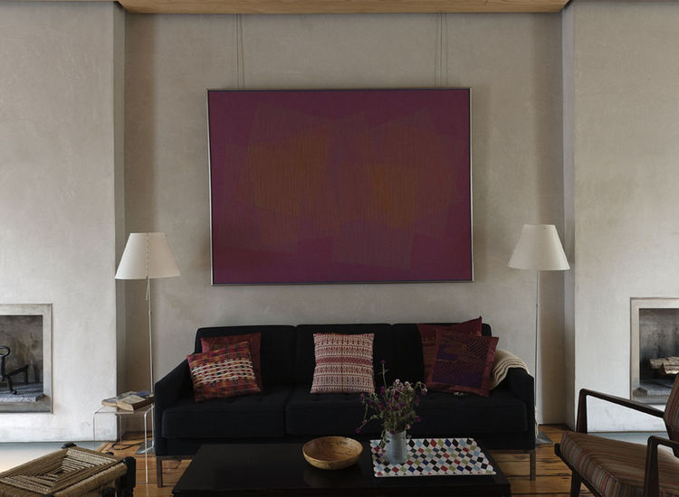 Living room with Julian Stanczak painting