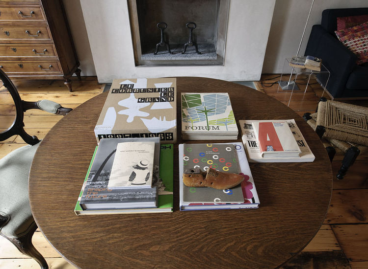 Modern design books on table