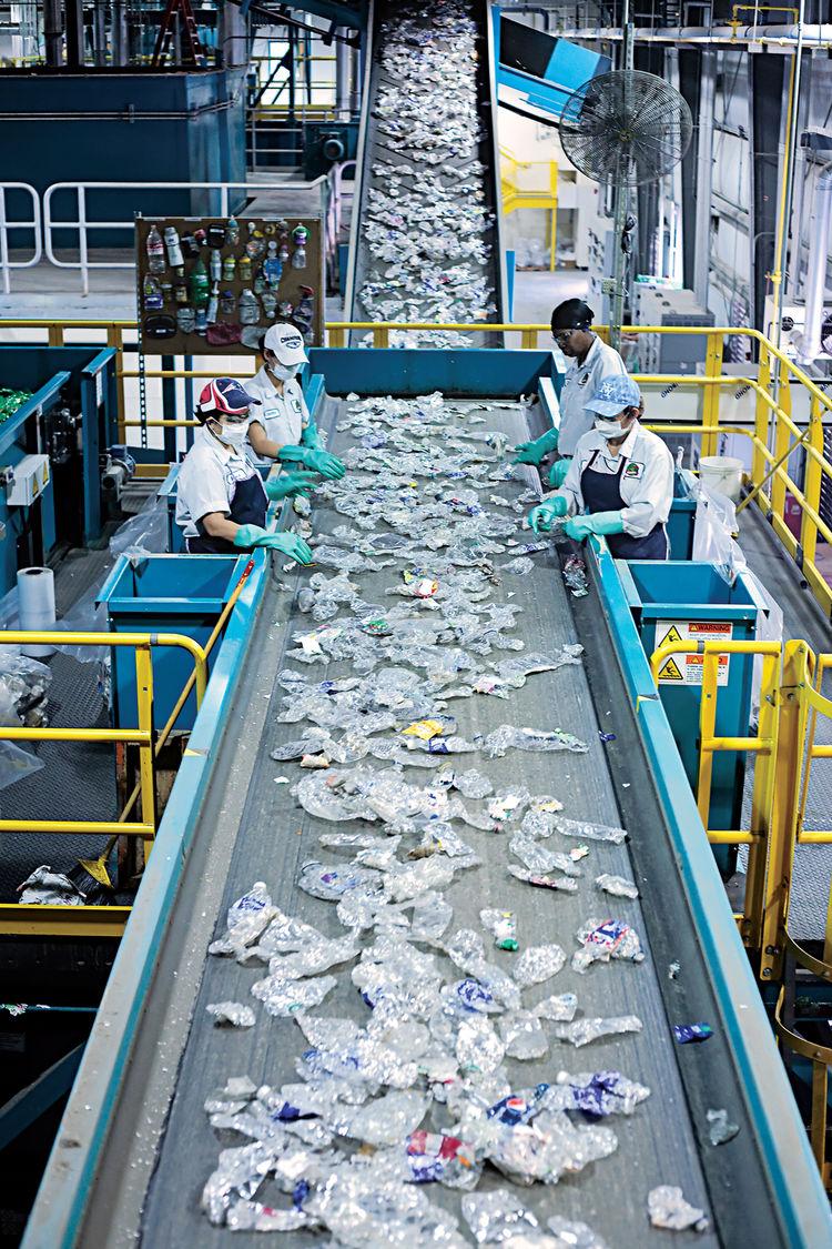 Emeco factory recycling conveyor belt