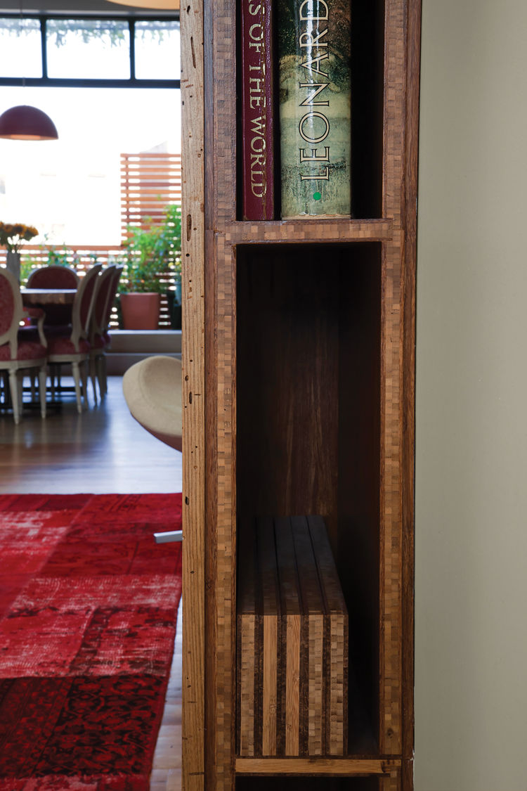 Reclaimed wood vertical bookshelf