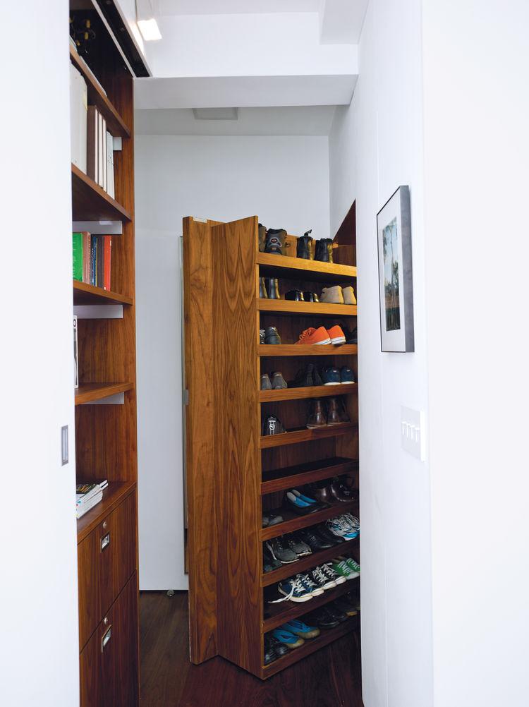 Hidden shoe storage wood closet