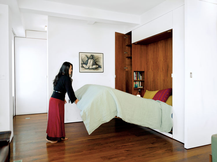 Foldable Murphy bed in the bedroom