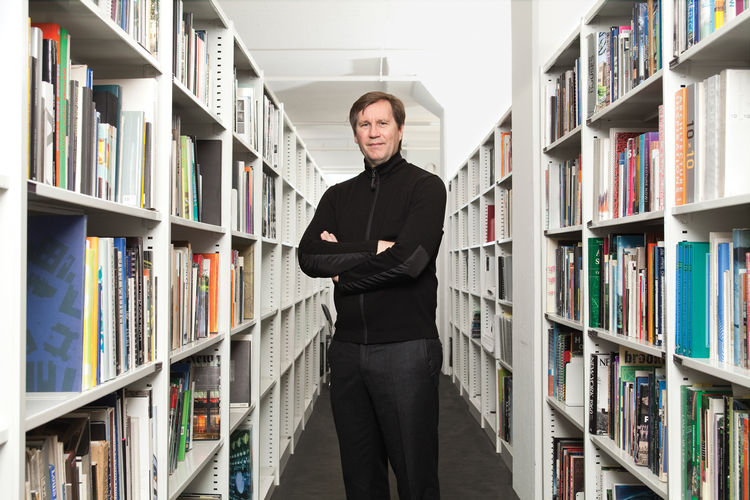 Architect Thomas Phifer in his west SoHo office library