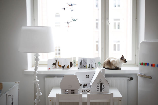 All-white bedroom window area