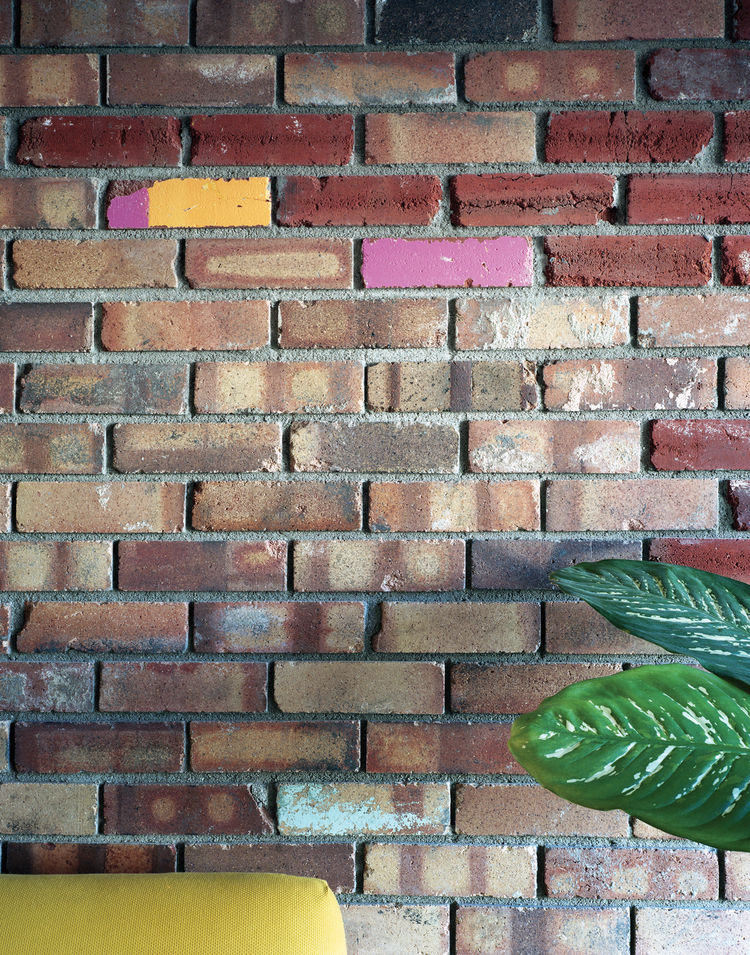 Wall made of salvaged bricks